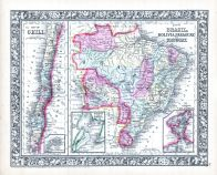 Chili, Brazil, Bolivia, Paraquay and Uruguay,, World Atlas 1864 Mitchells New General Atlas